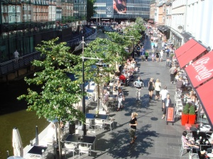 Vadestedet on the edge of the River Aarhus has become an elegant canal promenade filled with cafés and restaurants.