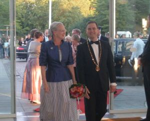Queen Margrethe II of Denmark arrives at the Concert Hall in Aarhus – known as the City of Smiles.